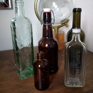 Variety of vintage glass bottles